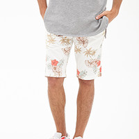 Aloha Print Chino Shorts Cream/Pink