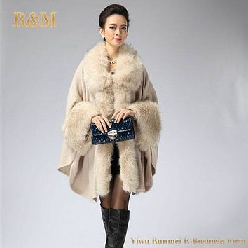 [RUNMEIFA] Autumn Winter New Women's Long Knitted Cardigan Sweater Fashion Fake Fox Fur Cashmere Shawl Cape Coat Poncho Women
