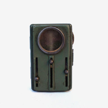 Vintage pocket flashlight collectibles green metal flashlight rustic home decor flashlight made in europe vintage trends battery operated