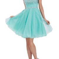 Sunvary Gorgeous Rhinestone Chiffon Homecoming Cocktail Gowns Short