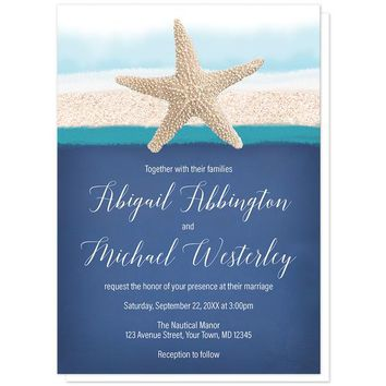 Starfish Navy Blue Teal Beach Wedding Invitations
