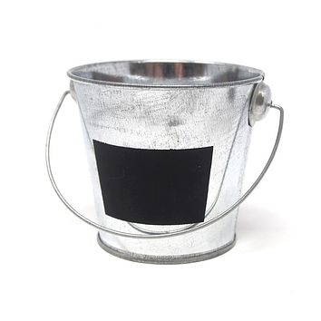 Galvanized Metal Bucket with Chalkboard Label, 3-Inch