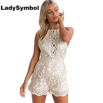LadySymbol Elegant Golden Jumpsuit Rompers Women Summer Lace Casual Backless Halter Gauze Metallic Party Sexy Beach Playsuits