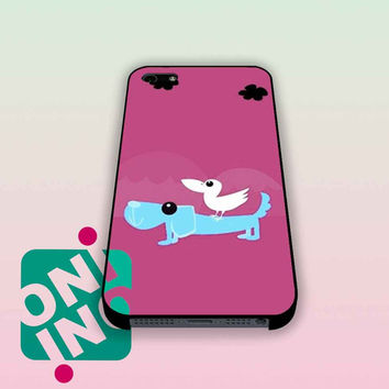 Funny Bird on Dog Cartoon iPhone Case Cover | iPhone 4s | iPhone 5s | iPhone 5c | iPhone 6 | iPhone 6 Plus | Samsung Galaxy S3 | Samsung Galaxy S4 | Samsung Galaxy S5