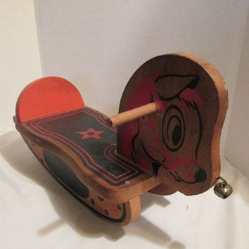 Detko wooden toy rocking horse primitive for toddlers bell on nose Mid Century 1940-1950s Michelle on the side