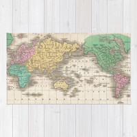 Vintage Map of The World (1827) Area & Throw Rug by BravuraMedia | Society6