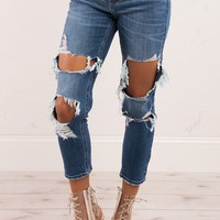 Medium Wash Boyfriend Distressed Denim