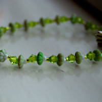 Pretty Green Bead Bracelet by ForgetRegretArt on Etsy