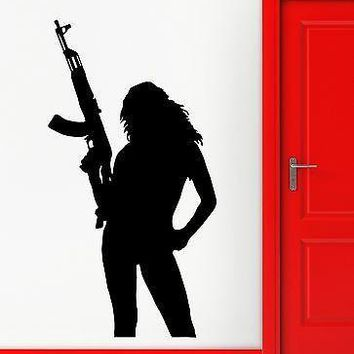 Wall Stickers Hot Sexy Silhouette Gun Military Girl Art Vinyl Decal Unique Gift (ig1914)