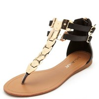 METAL-PLATED ANKLE STRAP THONG SANDAL