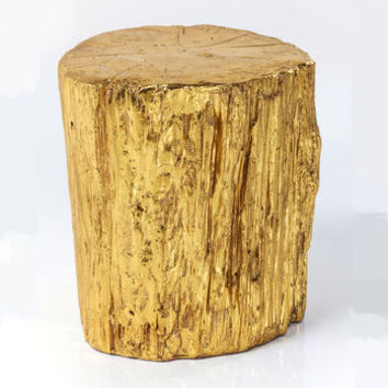 Gold Tree Trunk Side Table