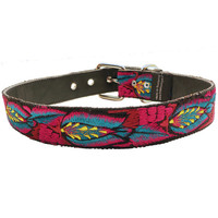 Leather Dog Collar, Colorful Dog Collar, Floral Dog Collar, Magenta Dog Collar, Big Dog Collar - Size Large  Large Dog Collar - Tulips TUD3L