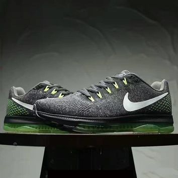 """NIKE"" Fashion Women Running Sport Casual Shoes mesh Sneakers Gery green white hook"