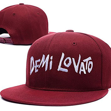 RHXING Demi Lovato Logo Adjustable Snapback Embroidery Hats Caps - Red