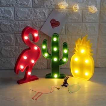 DELICORE 3D Flamingo Pineapple Cactus Night Lights 8 Style Marquee LED Letter Lamp