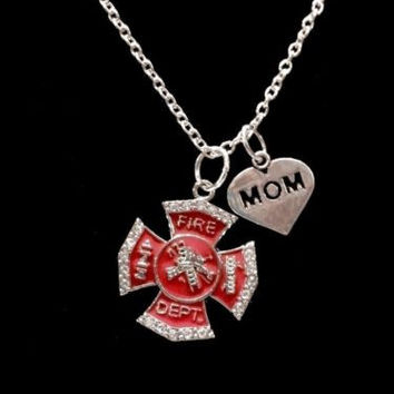 Red Maltese Cross Firefighter Mom Fireman Firefighters Charm Necklace