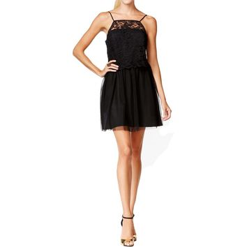 BCBGeneration Womens Lace Mesh Overlay Party Dress