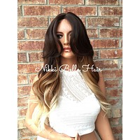 Bailey Auburn Human Hair Blend Ombre Rooted Blond Full Wig 22""