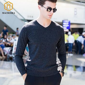 V-Neck Knitted Classic Design Men's Sweater Men's Formal Business Sweaters Male Knitwear Pullover