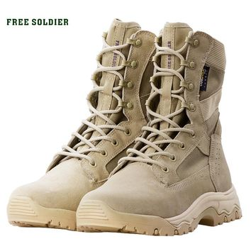 FREE SOLDIER Outdoor sports military boots men tactical boots  army combat light shoes for camping hiking