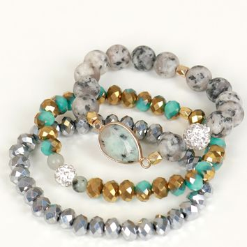 Beaded Bracelet Set Blue/Grey