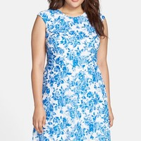 Plus Size Women's Chetta B Floral Print Lace Fit & Flare Dress