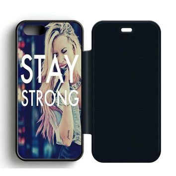 Stay Strong Demi Lovato Leather Wallet Flip Case iPhone 5 | 5S