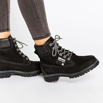 Bronx Chunky Lace Up Leather Ankle Boots