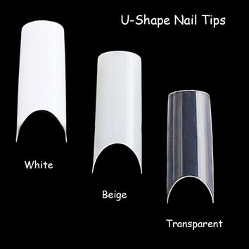 100pcs Nail Art U-shape Half Cover French Manicure False Nail Tips Fake Nails Artificial Nails Beauty Products