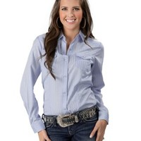 Roper Women's Light Blue with Stripes and Pearl Snaps Long Sleeve Western Shirt