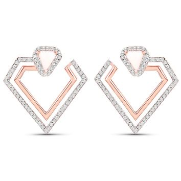 LoveHuang 2.13 Carats Genuine Pink Opal and White Topaz Double Diamond Earrings Solid .925 Sterling Silver With 18KT Rose Gold Plating