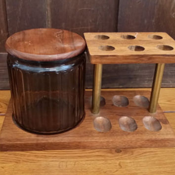 Vintage Wood Pipe Stand and Tobacco Humidor Holds Six Pipes Great Tobacco Mid Century Decor Guy Gift
