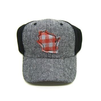 Wisconsin Trucker  Herringbone Trucker Hat - Orange Buffalo Check