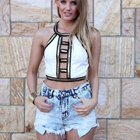 White Crop Halter Top with Gold Embellished Detail