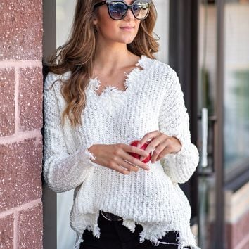 Crisp Breeze V Neck Distressed Sweater : Ivory