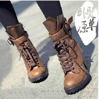 2015 Winter Women Genuine leather high heels motorcycle boots ankle boots for women chunky platform black brown = 1946735364