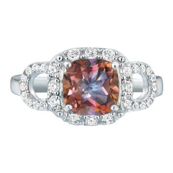 Sterling Silver Mystic Quartz Cushion-Cut Ring