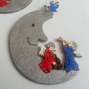 Wooden silver moons with angels, christmas tree ornament, hand painted with acrylic paints glitter children room decoration nursery