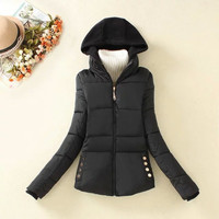 Knitted Hood Zippered Winter Coat With