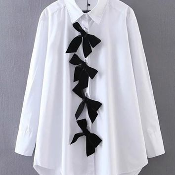 High Low Blouse With Bow