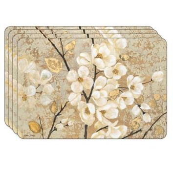 Jason Blossoming Branches Hardboard Cork-Backed Placemats (Set of 4)