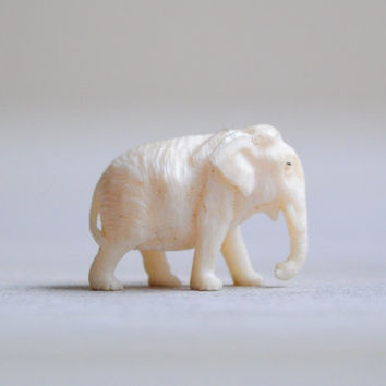 Vintage Tiny White Elephant Figurine