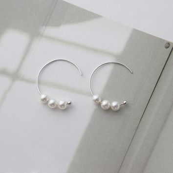 Hoop Style Brass Earring with Plastic Pearl platinum plated woman Nickel Lead & cadmium free
