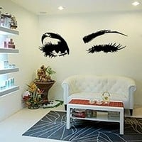 Beautiful Eyes Big Eye Lashes Wink Decor Wall Art Mural Vinyl Decal Stickers Interior Design Ah181