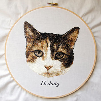 Custom Pet Portrait Hoop Art. Embroidery Hoop Wall Art. Stitched Wall Hanging. Room Decor.