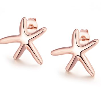 Sweet Small Rose Gold & Silver Tone Nautical Starfish Stud Earrings