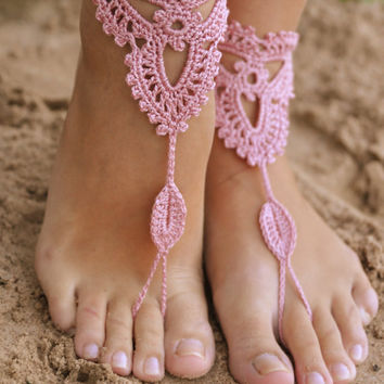 Crochet Old Rose Barefoot Sandals, Nude shoes, Foot jewelry, Wedding, Victorian Lace, Sexy, Yoga, Anklet , Bellydance, Steampunk, Beach Pool