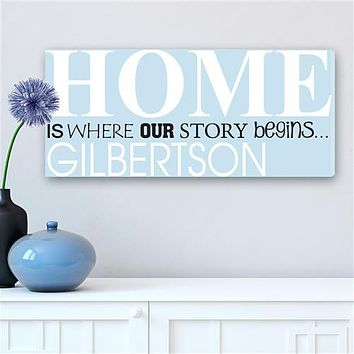 Where Our Story Begins Canvas Sign Free Personalization