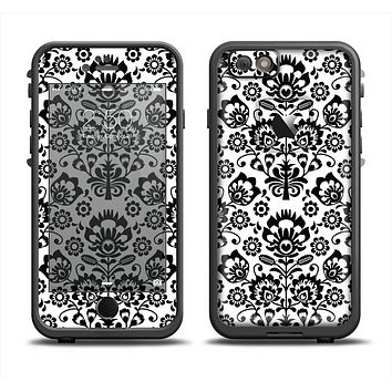 The Black Floral Delicate Pattern Apple iPhone 6 LifeProof Fre Case Skin Set