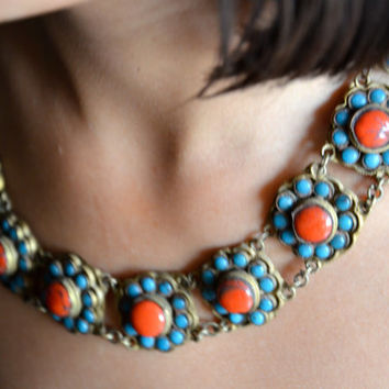 Stunning antique turquoise, coral and copper tribal Nepal necklace vintage